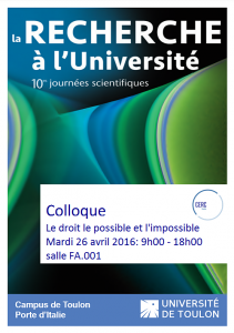 Colloque Le droit le possible et l'impossible